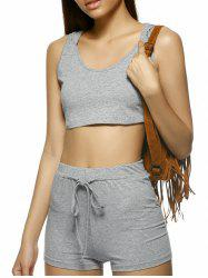 Stylish Pure Color Sleeveless Knitting Hooded Twinset For Women