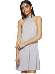 Hang A Neck Backless Dress For Woman - LIGHT GRAY M