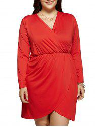 Plus Size Long Sleeve Surplice Tulip Cocktail Dress
