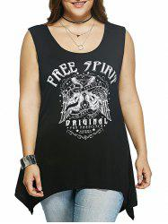 Plus Size Guitar Print Asymmetrical Tank Top - BLACK
