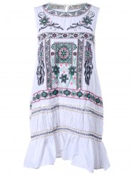 Ethnic Style Sleeveless Embroidery Print Dress -