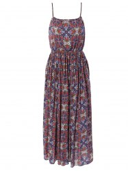 Ethnic Print Spaghetti Strap High Waist Dress -