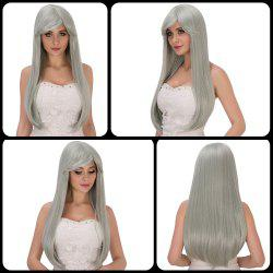 Long Side Bang Silver Grey Green Tail Adduction Stunning Cosplay Lolita Synthetic Wig For Women