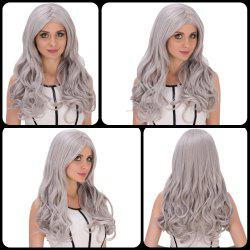 Charming Long Middle Part Wavy Silver Grey Cosplay Lolita Synthetic Wig For Women