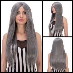 Elegant Long Middle Part Mixed Color Straight Cosplay Lolita Synthetic Wig For Women