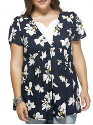 Refreshing Flower Print Spliced Plus Size Blouse - DEEP BLUE 4XL