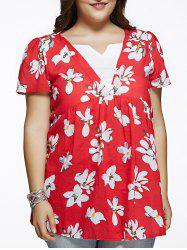 Refreshing Flower Print Spliced Plus Size Blouse