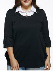 Plus Size 3/4 Sleeve Faux Twinset Blouse