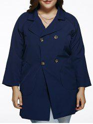 Manteau Trench Double Breasted Plus Size - Bleu Foncu00e9