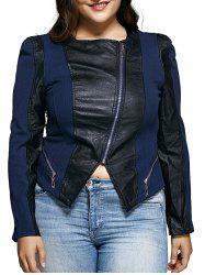 Diagonal Zipper Asymmetric Leather Spliced Jacket - BLUE AND BLACK