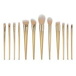 Stylish 12 Pcs Plating Handle Nylon Facial Eye Lip Makeup Brushes Set -