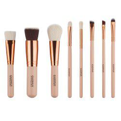 Stylish 8 Pcs Wool Nylon Facial Eye Lip Makeup Brushes Set