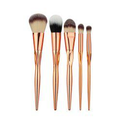 Stylish 5 Pcs Plating Handle Nylon Facial Eye Makeup Brushes Set