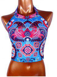 Halter Tribal Print Crop Top - COLORMIX L