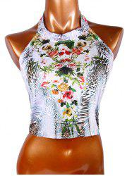 Trendy Women's Halter Floral Print Leopard Crop Top