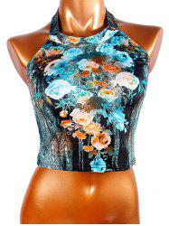 Chic Women's Halter Flowers Print Crop Top