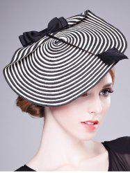 Bowknot Stripe 18th Century Straw Hat