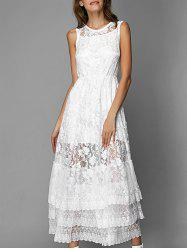 Sleeveless Flounce Layered Lace Maxi Dress and Cami Underdress Twinset