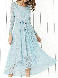 Lace Long Sleeve Swing Wedding Evening Dress