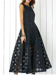 Layered Flowy Maxi Carpet Cocktail Dress - BLACK