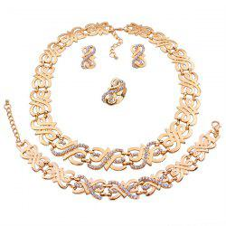 A Suit of Stylish Rhinestone Note Necklace Bracelet Ring and Earrings For Women -