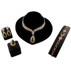 A Suit of Teardrop Faux Emerald Jewelry Set