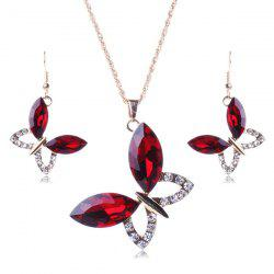 A Suit of Stylish Faux Gem Butterfly Necklace and Earrings For Women -