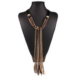 Vintage Long Fringe Spliced Chain Statement Necklace - GOLDEN