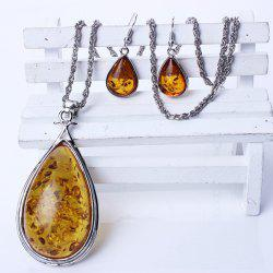 A Suit of Retro Faux Amber Jewelry Set -