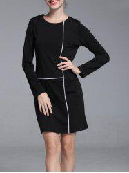Graceful Contrast Trim Round Neck Long Sleeve Shift Dress For Women