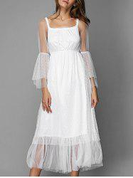 Long Sleeve Casual Tulle Overlay Dress - WHITE XL