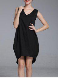 Brief V-Neck Sleeveless High Low Dress For Women