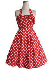 Vintage Halter Flounce Bowknot Back Cut Out Polka Dot Dress For Women -