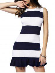 Striped Flounce Sleeveless Sweater Dress - STRIPE