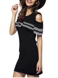 Charming Cut Out Striped Flounce Women's Dress -