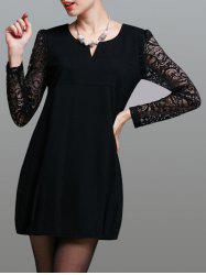 Stylish Lace Splicing Pocket Design Women's Dress