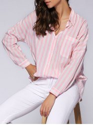 Trendy Loose-Fitting Pocket Design Striped Women's Shirt