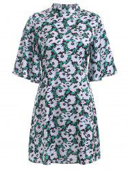 Sweet Bell Sleeve Floral Print Stand Collar Flare Dress