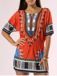 Bohemian Style Tribal Print Dress -