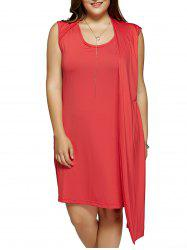 Plus Size One-Side Red Dress Overlay