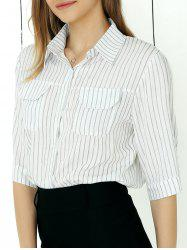 Office Style Thin-Stripe Pocket Design Shirt -