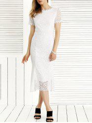 Charming Guipure Solid Color Lace Dress -