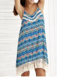 Ethnic Print Tassel Summer Cami Dress - BLUE