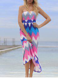Chic Strapless Colorful Zigzag Dress For Women -