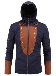 Color Splicing Rivet Embellished Zip Up Long Sleeve Hooded Jacket For Men