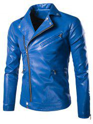 Solid Color Zippered Snap Buttoned Long Sleeve Faux Leather Jacket For Men