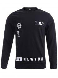 BoyNewYork Round Neck Applique Long Sleeves Sweatshirt