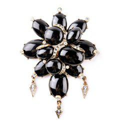 Leaf Floral Artificial Gem Oval Rhinestone Brooch - BLACK