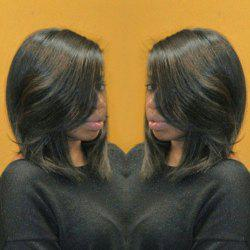 Stylish Black Mixed Brown Natural Wave Medium Layered Synthetic Bob Wig For Women
