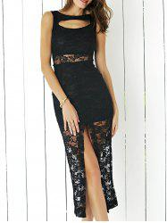 Alluring Sleeveless Cut Out Slit Sheath Lace Dress For Women -